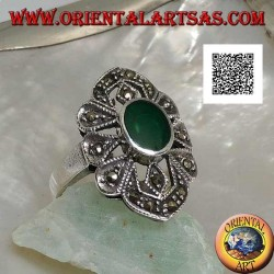 Silver ring with oval green agate on a geometric shape setting with marcasite