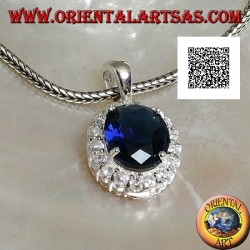 Silver pendant with oval sapphire zircon set surrounded by white zircons
