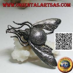 Spilla in argento a forma di calabrone / bombo in volo tempestato di marcassite