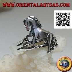 Silver ring with rampant horse