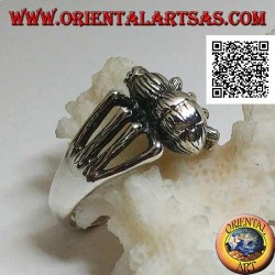 Silver ring in the shape of a tarantula spider on 8 legs