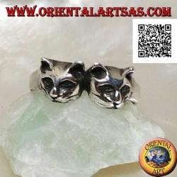 Bague en argent avec paire de chats (têtes)