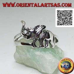 Silver ring with walking Asian elephant and trunk up