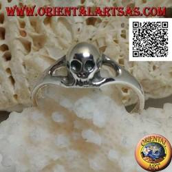 Anello in argento con teschio piccolo senza mandibola liscio (piccolo)
