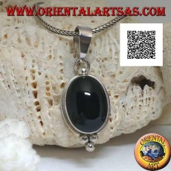 Silver pendant with oval cabochon onyx on smooth setting and three balls below