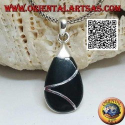 Drop silver pendant with onyx and intersecting sinuous line