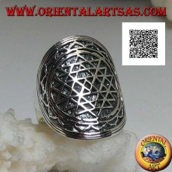Silver shield ring engraved with Sri Yantra in the lotus flower (yantra or chakra from the cult of the goddess Tripurasundarī)