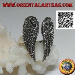 Anello in argento con doppie ali d'angelo chiuse
