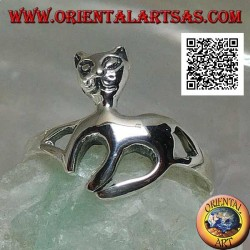 Silver ring in the shape of a cat on a graceful walk