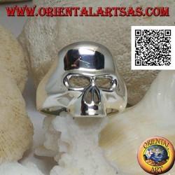 Anello in argento liscio a forma di teschio senza mandibola, denti e naso