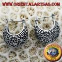 orecchini cerchio mezzaluna traforato fiori in argento piccolo