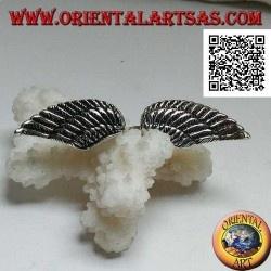 Silver ring with double spread and open angel wings