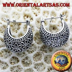 Ohrringe Mondsichel Kreis durchbrochenen Blumen in kleinen Silber