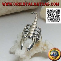 Silver ring with scorpion in smooth offensive position (large)