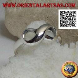 Bague en argent avec symbole de noeud infini lisse arrondi (petit)