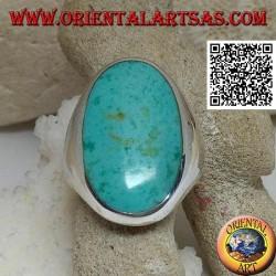 Bague en argent avec grande turquoise ovale sur monture lisse et essentielle (13)