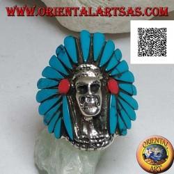 Bague en argent, crâne indien amérindien avec coiffe de plumes turquoise et disques de corail