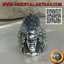 Silberner indianischer Kopfring mit hohem Federkopfschmuck