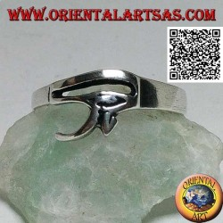 Anello in argento liscio ed essenziale con occhio di Horus o occhio di Ra (piccolo)