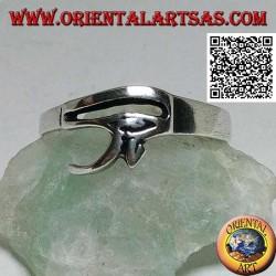 Bague en argent lisse et essentielle avec oeil d'Horus ou oeil de Ra (petit)