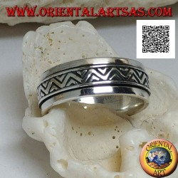 Anti-stress rotating silver ring, double broken line with engraved triangles