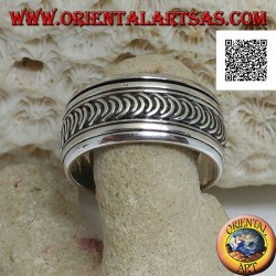 Anti-stress rotating silver ring, series of new or growing moons engraved