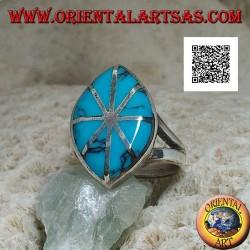 خاتم المكوك الفضي مع الفيروز مقسم إلى ثمانية أجزاء من الخطوط الفضية