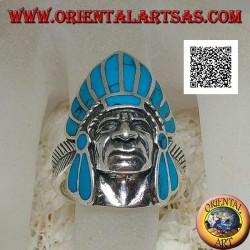 Bague en argent, tête d'Indien amérindien avec coiffe de plumes turquoise et plume sur les côtés
