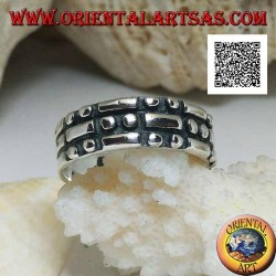 Silver ring with rectangles and pairs of checkerboard circles in bas-relief