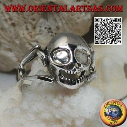 Silver ring of a goblin skull with ears