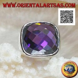 Rhodium silver ring with rounded square amethyst cabochon faceted zircon