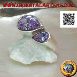 Rhodium silver ring with double specular drop of faceted amethyst-colored zircons