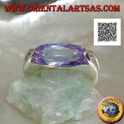 Rhodium-plated silver ring with horizontal oval faceted amethyst zircon