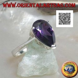 Rhodium-plated silver ring with amethyst-colored teardrop zircon set with 3 clips
