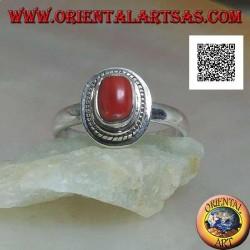 Silberring mit natürlicher Koralle in geflochtener Kante (19)