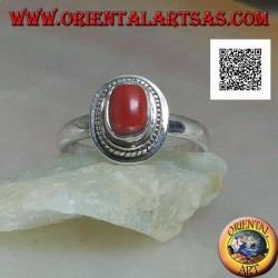 Silver ring with natural coral set in a braided edge (19)