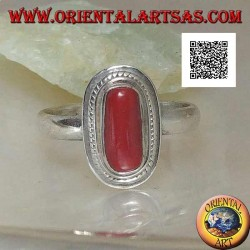 Silver ring with natural coral set in a braided edge (16)