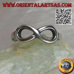Anello in argento con simbolo nodo dell'infinito liscio sottile