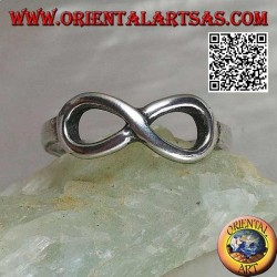 Silver ring with thin smooth infinity knot symbol