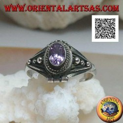 Silver ring small poison holder with natural oval amethyst and decoration with balls (handmade)