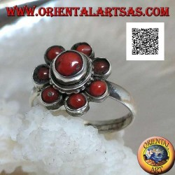 Silver ring in the shape of an antique Tibetan coral flower with seven petals