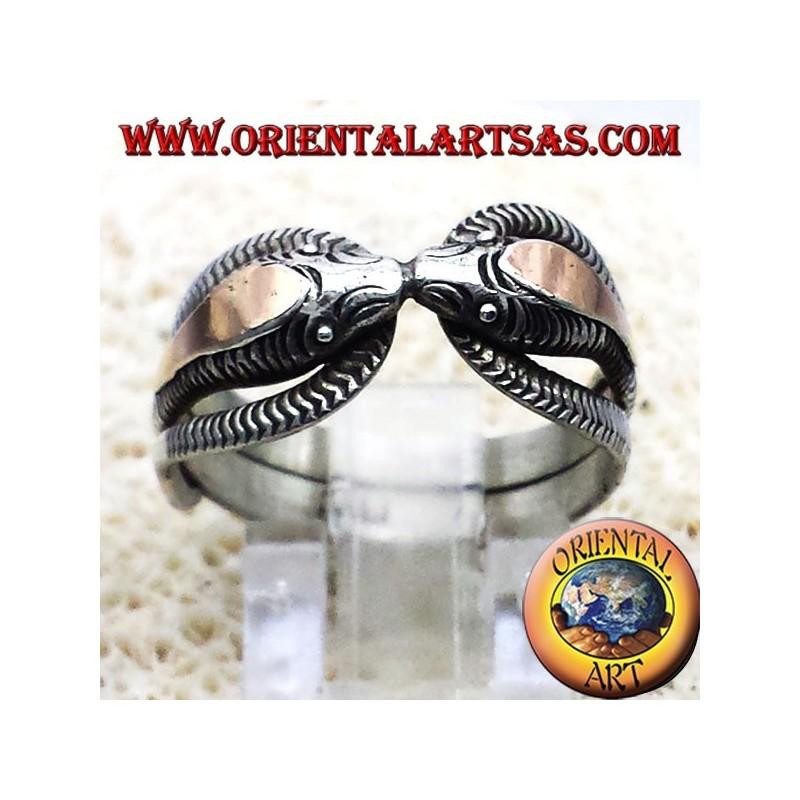 deux cobras anneau en argent avec 14 carats feuille d'or