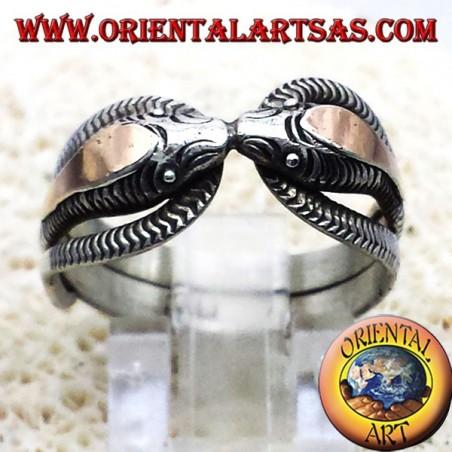 zwei Kobras in Silber mit 14 Karat Blattgold Ring