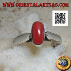 Silver ring with oval antique Tibetan coral in relief on a simple setting