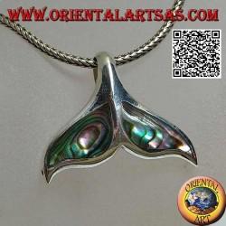 Ciondolo in argento a forma di coda di balena con paua shell (grande)