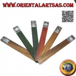 Ensemble de 6 marque-pages étroits en bois de teck avec plaque décorée en maillechort ou argent (4)