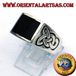 ring with onyx and silver Celtic knot