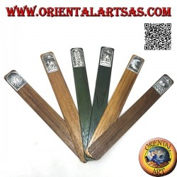 Set of 6 narrow bookmarks in teak wood with decorated nickel silver or silver plate (2)