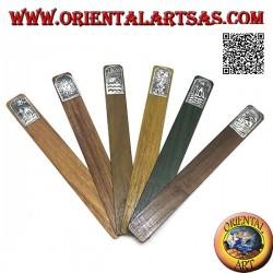 Ensemble de 6 marque-pages étroits en bois de teck avec plaque décorée en maillechort ou argent (1)