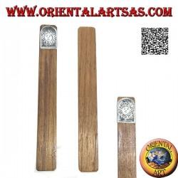 Marque-page en bois de teck avec plaque en maillechort ou argent décoré de soleil (étroit)